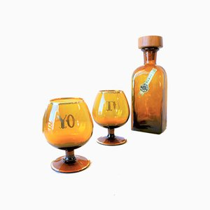 Tu Y Yo Game Bottle Decanter and Glasses Set from Vimar, 1960s, Set of 3