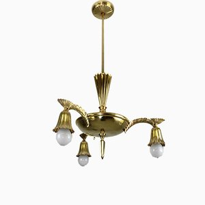 Brass Chandelier in the Style of Dagobert Peche, 1910s