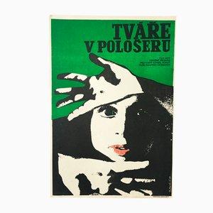 Affiche de Film Faces in the Darkness Vintage par Josef Duchoň, 1973