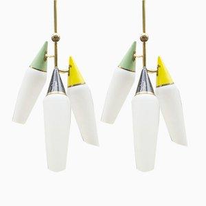 Italian Ceiling Sputnik Lamps, 1950s, Set of 2