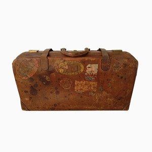 Vintage Leather Suitcase, 1940s