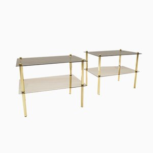 Smoked Glass & Brass Side Tables, 1970s, Set of 2