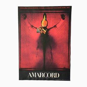 Affiche de Film Amarcord Vintage par Josef Vyleťal, 1974