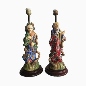 Chinese Ceramic Lamps, 1960s, Set of 2