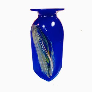 Kobaltblaue deutsche Glasvase, 1970er