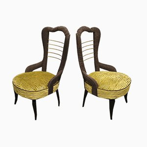 Mid-Century Green Velvet and Brass Italian Chairs, 1950s, Set of 2