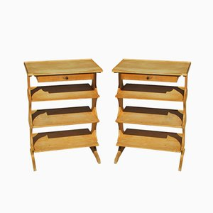 Beech Console Tables, 1960s, Set of 2