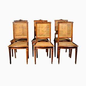 Napoleon III Oak and Straw Chairs, 1880s, Set of 6