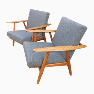 Model GE240 Oak Cigar Chairs by Hans Wegner for Getama, 1960s, Set of 2