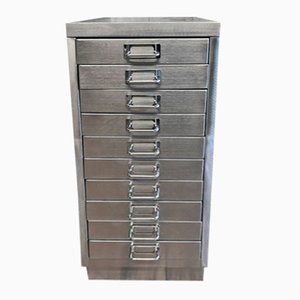 Industrial Stripped Metal 10 Drawer Filing Cabinet, 1980s