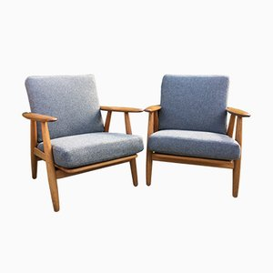Model GE240 Oak Cigar Chairs by Hans J Wegner for Getama, 1960s, Set of 2