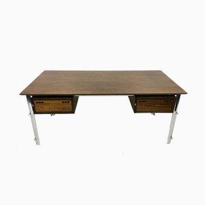 Schreibtisch aus Palisander und Chrom, 1970er