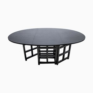 Table Pliante en Frêne Teint Noir par Charles Rennie Mackintosh pour Cassina, 1975