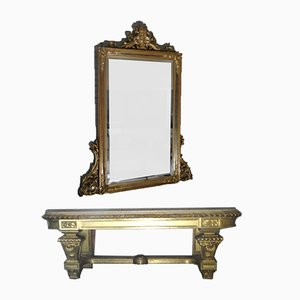 Table Console et Miroir 19ème Siècle