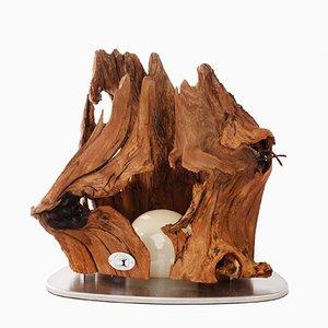 Vulkan Tischlampe aus Robinienholz von Natural Design