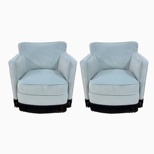 Vintage Blue Velvet Lounge Chairs, Set of 2