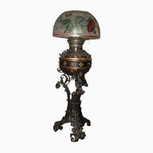 Antike Tischlampe aus Eisen & Glas