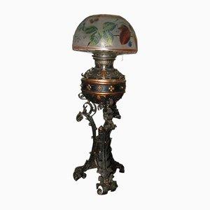 Lampe de Bureau Antique en Fer & en Verre