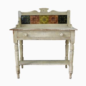Lavabo Victorien Antique en Pin Peint
