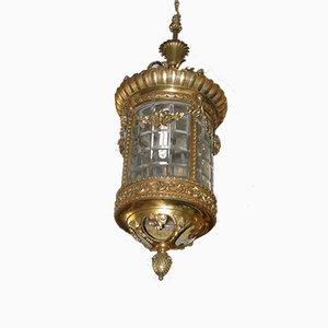 Plafonnier Antique en Laiton & en Verre