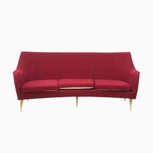 Italian Curved Sofa on Brass Legs, 1960s