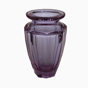Vintage Violet Cut Glass Vase by Moser for Moser Karlsbad