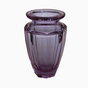 Violette Vintage Vase aus geschliffenem Glas von Moser für Moser Karlsbad