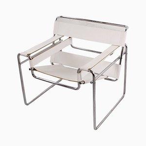 Weißer Wassily Sessel aus Leder von Marcel Breuer für Knoll International, 1980er