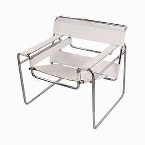 White Leather Wassily Chair by Marcel Breuer for Knoll International, 1980s