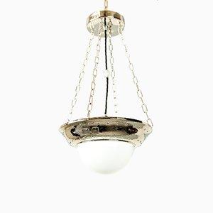 Lampe à Suspension Art Déco en Nickel et Verre, 1920s