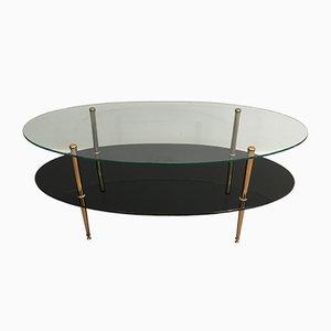 Table Basse en Laiton et Verre Noir, 1970s