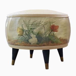Mid-Century Vinyl Inflatable Floral Pouf from Puffin, 1960s