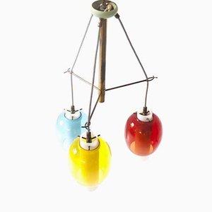 Lampe à Suspension Mid-Century en Verre Opalin et Laiton, Italie, 1950s