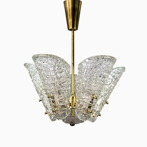 Lámpara de araña de vidrio texturizado de Kalmar, años 50