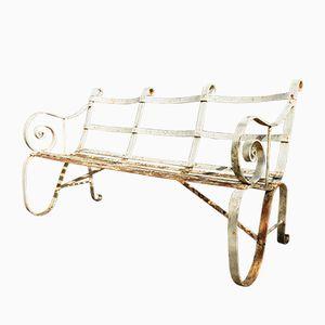 Regency White Metal Garden Bench, 1820s