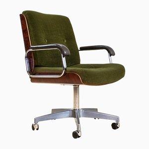 Sedia da scrivania girevole in velluto verde e pelle di Giroflex, anni '70