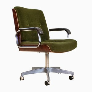 Silla de escritorio giratoria de cuero y terciopelo verde de Giroflex, años 70