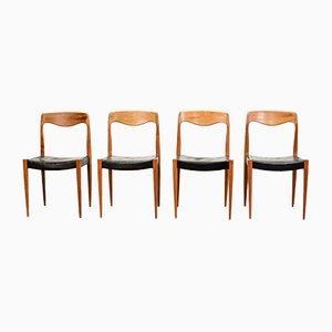 Modell 71 Esszimmerstühle aus Kunstleder von NO Moller, 1950er, 4er Set