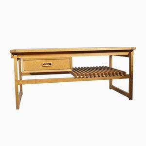 Banco de roble con cajón y estante de Ikea, años 60