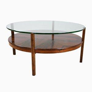 Mesa de centro redonda de palisandro y vidrio, años 60