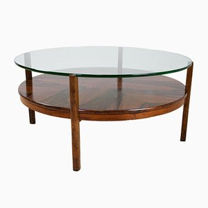 Tavolino da caffè rotondo in palissandro e vetro, anni '60