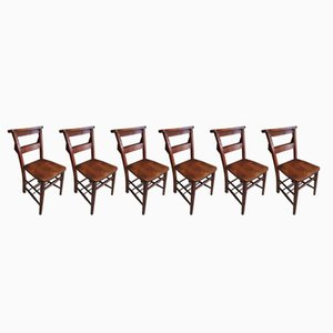 Antique Chapel Elm & Beech Chairs, Set of 6