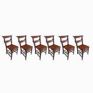 Antique Chapel Elm & Beech Chairs, Set of 6