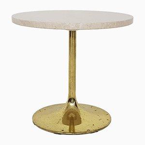 Petite Table d'Appoint en Travertin et en Métal par Börje Johanson pour Johanson, 1970s