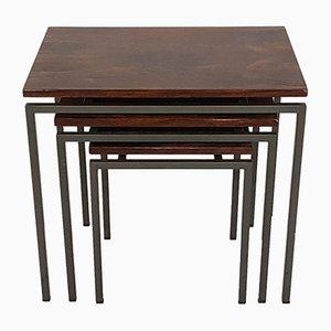 Tavolini a incastro vintage in palissandro e metallo, anni '50