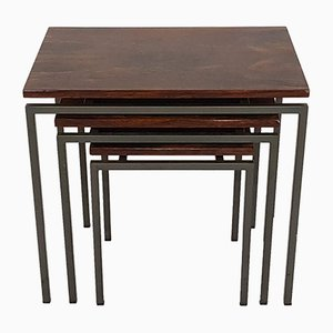 Vintage Rosewood and Metal Nesting Tables, 1950s
