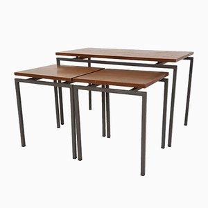 Tavolini ad incastro in teak e metallo, anni '60