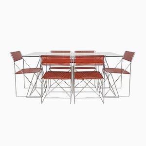 Chaises Empilables et Table de Salle à Manger X Line par Niels Jørgen Haugesen pour Hybodan, 1977, Set de 6
