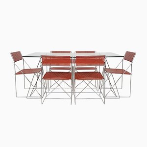Sedie da pranzo X Line impilabili con tavolo di Niels Jørgen Haugesen per Hybodan, 1977, set di 6