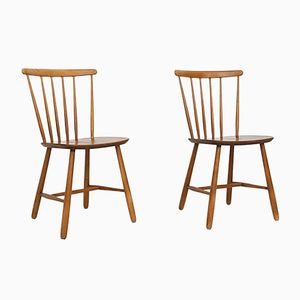 Teak Spindle Back Chairs from Pastoe, 1950s, Set of 2
